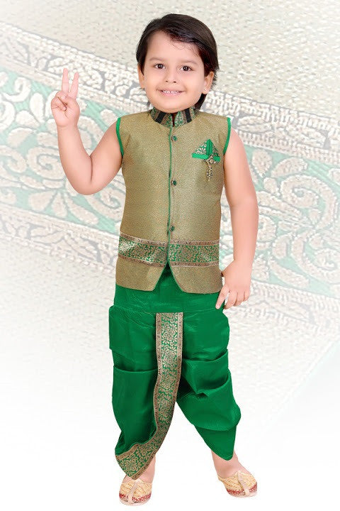 Indian Boys Green Kurta Set