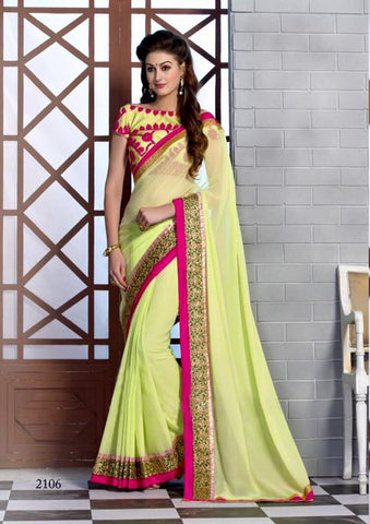 INDIAN DESIGNER LEMON YELLOW SAREE WITH EMBROIDERED BLOUSE
