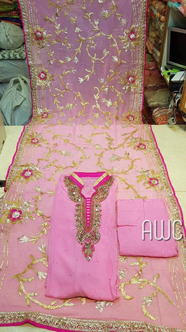 Pure Georget Designer,  Pure Shiffon Dupatta with Beautifull Golden Gota work and thread work