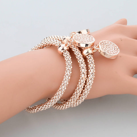 Fashion Jewelry Gold Silver Chain Bracelet Round Hollow Charm Bangles For Women Free + Shipping