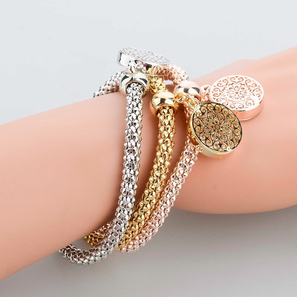 Fashion Jewelry Gold Silver Chain Bracelet Round Hollow ...