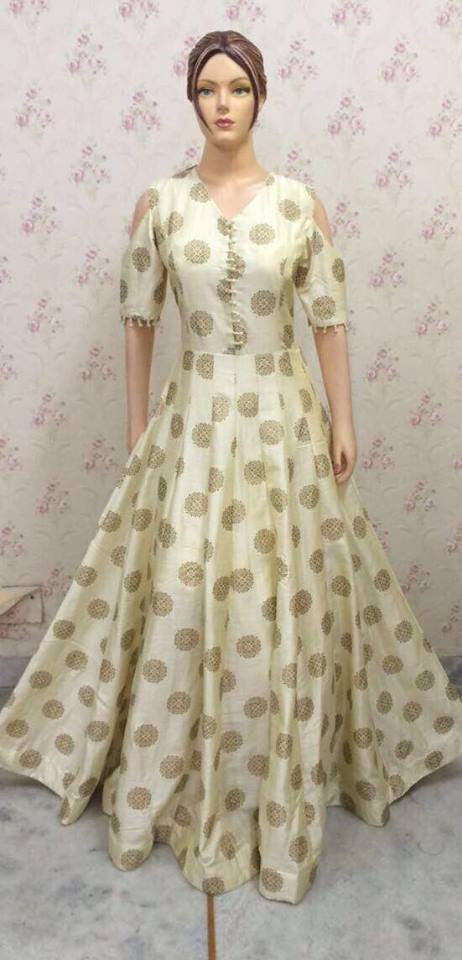 Exclusive Cream gown With dupatta n legging