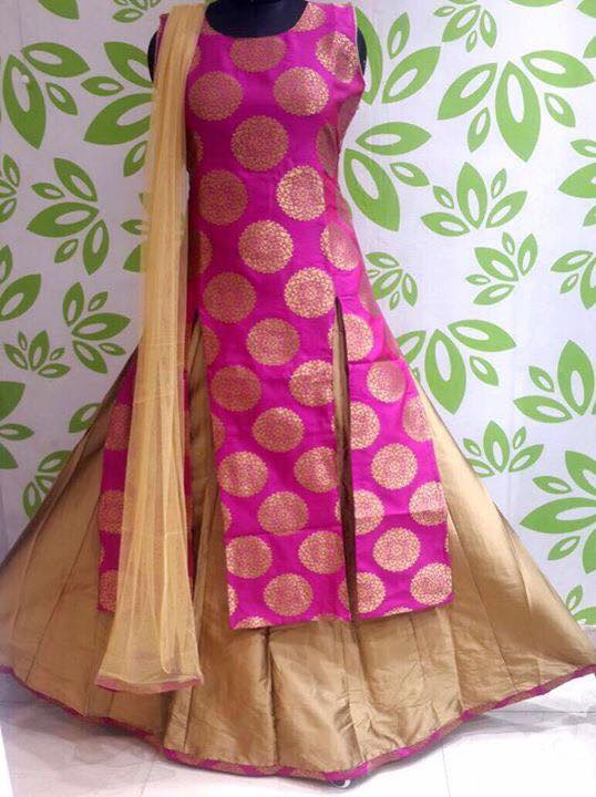 Brocade Lehenga in Pink and with Beige  Kameez