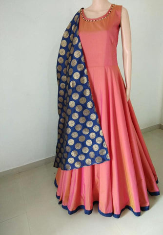 Exclusive Peach Color Long Suit Tapeta silk  with jaquard