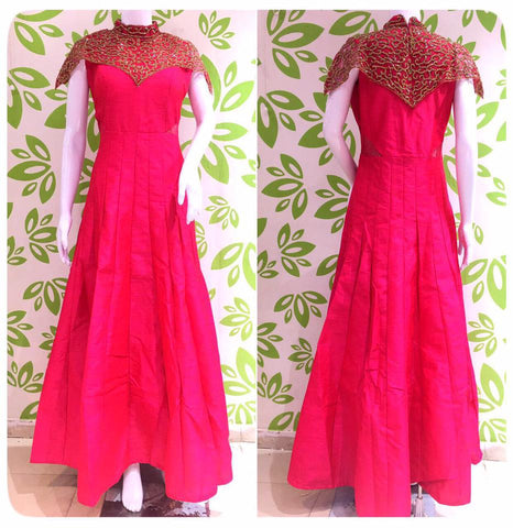 Pink Designer Long Dress with Diamonds