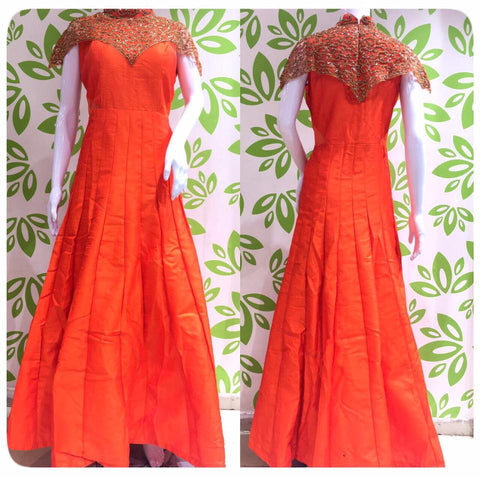 Orange Designer Long Dress with Diamonds