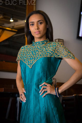 Sea Green Designer Long Dress with Diamonds