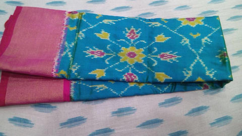Pink/Sea Blue Pochampally Ikat Silk Dupatta