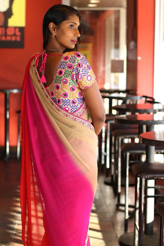 Multi Color Georgetter Saree with Designer Blouse