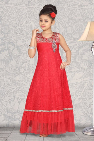 Indian Designer_Gown_Pink_Net