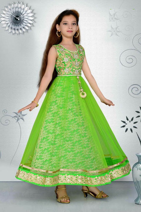 Indian Designer Green Georgette Brocade Readymade Gown Ethnic