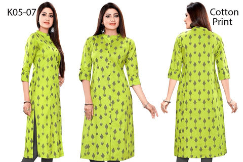 Neno Green  Linen Cotton Kurti