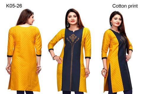 NavyBlue & Yellow Chanderi Cotton Silk Designer Kurti with  sleeves