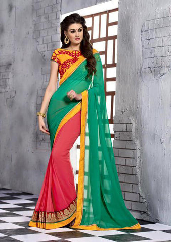 INDIAN DESIGNER GREEN & RED SAREE WITH EMBROIDERED BLOUSE