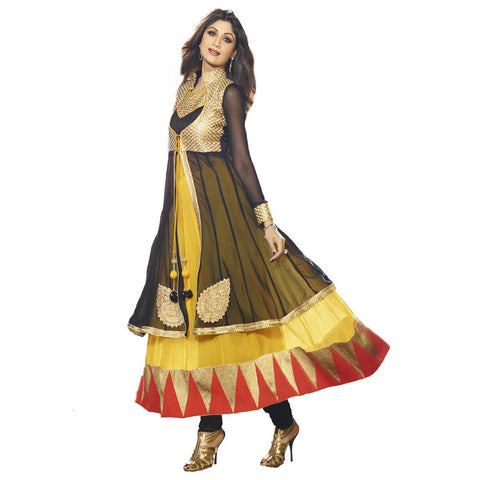Indian Salwar Yellow and Black  Faux Georgette Abaya Style Churidar Kameez