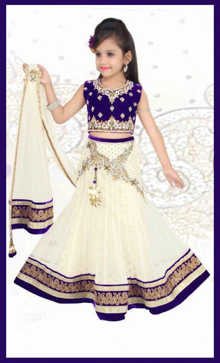 Indian Designer  Off White Net Readymade Lehenga Choli with Dupatta