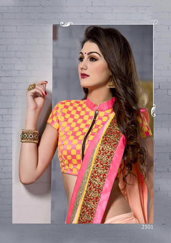 INDIAN DESIGNER PEACH COLOR SAREE WITH EMBROIDERED BLOUSE