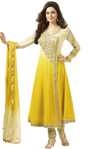 Indian Designer Shaded Off White and Ochre Faux Georgette Anarkali