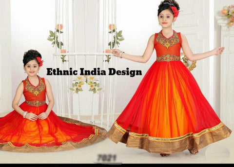 Orange  Readymade Exclusive Designer Girls  Frock
