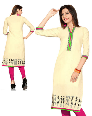 Indian Kurti_Cream_Printed_1