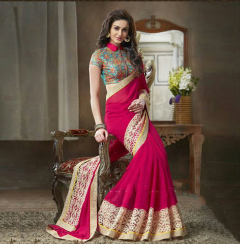 Indian Designer Pink Printed Saree With Embroidered Blouse