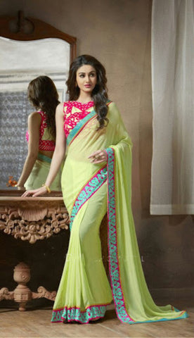 Indian Designer Printed saree in Lime Color_1