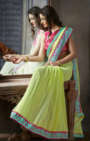 Indian Designer Printed saree in Lime Color_2