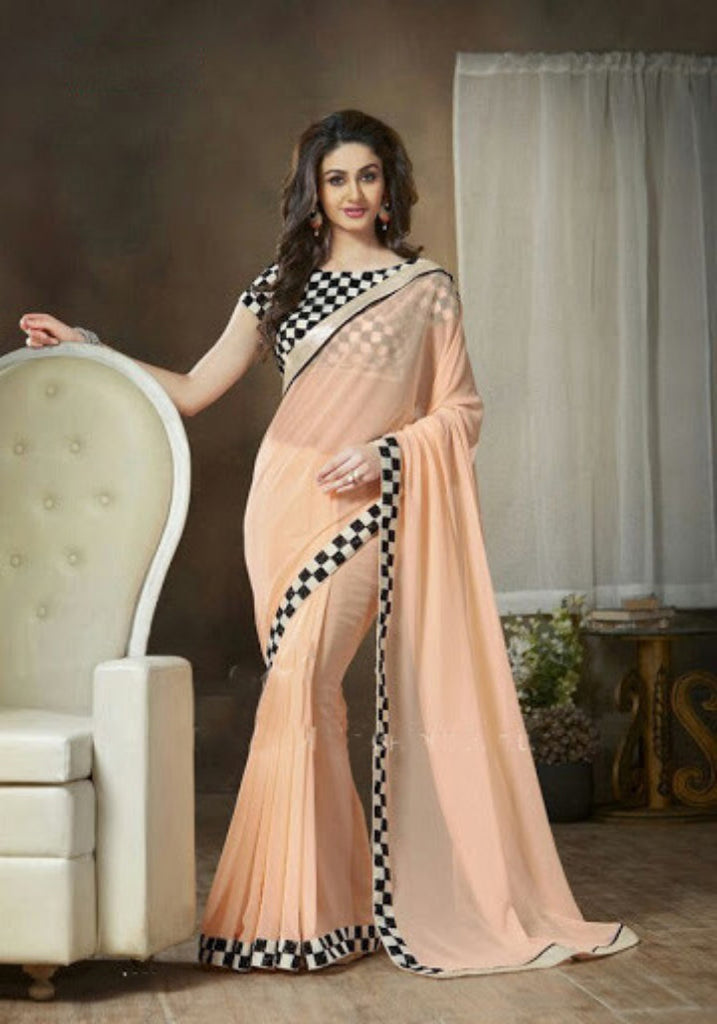 6e4dc1b74 Indian Designer Peach Printed Saree With Embroidered Blouse