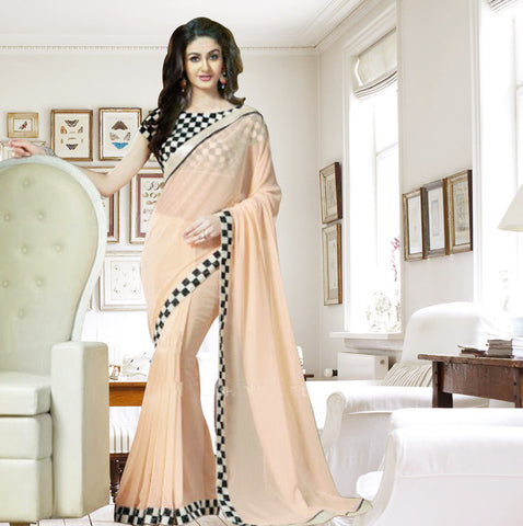 Indian Designer Peach Printed Saree With Embroidered Blouse