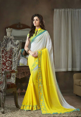 Indian Designer Printed saree in Yellow & White Color_2