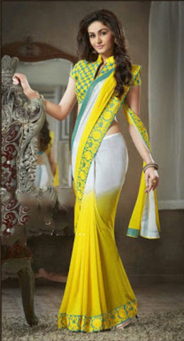 Indian Designer Printed saree in Yellow & White Color_1