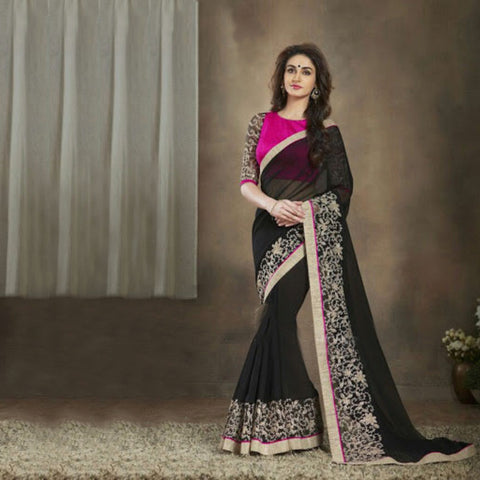 Indian Designer Printed  Black Saree With Embroidered Blouse