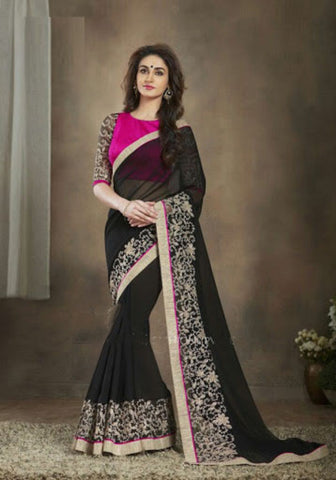 Indian Designer Printed saree in Black Color_1