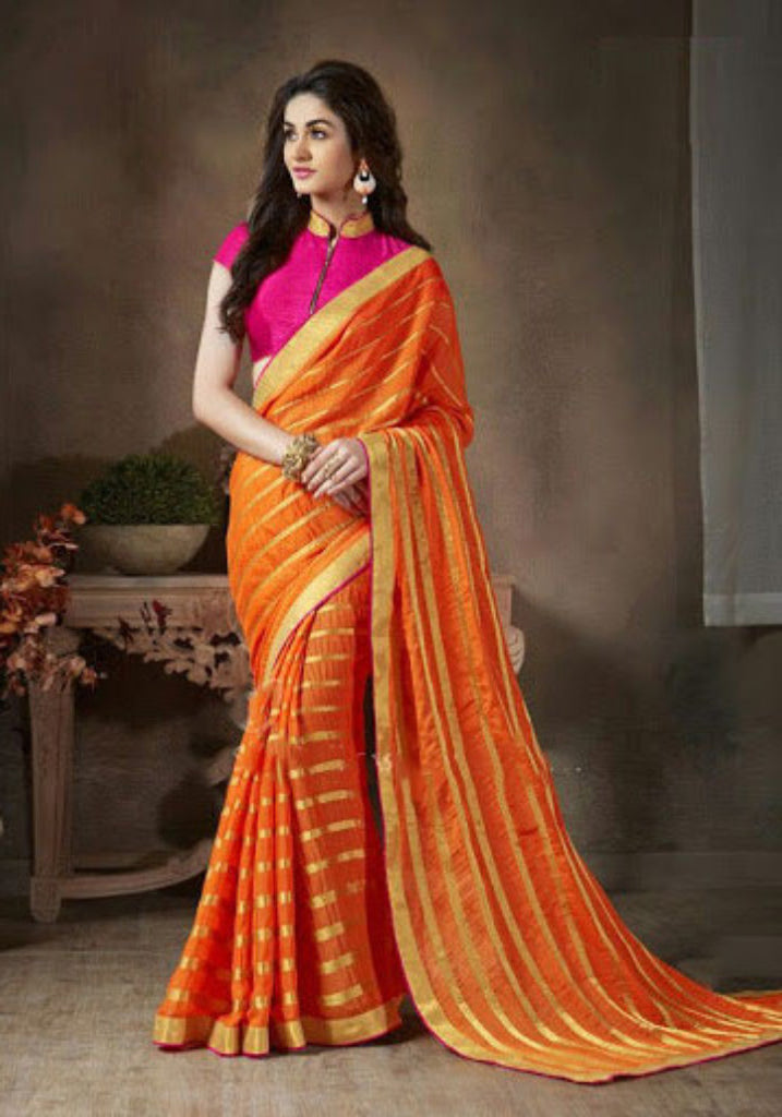 32e477ea9 Indian Designer Orange Printed Saree With Embroidered Blouse