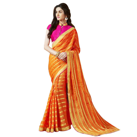 Indian Designer Orange Printed Saree With Embroidered Blouse