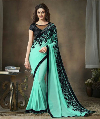 Indian Designer Printed saree in Turquoise Color_1