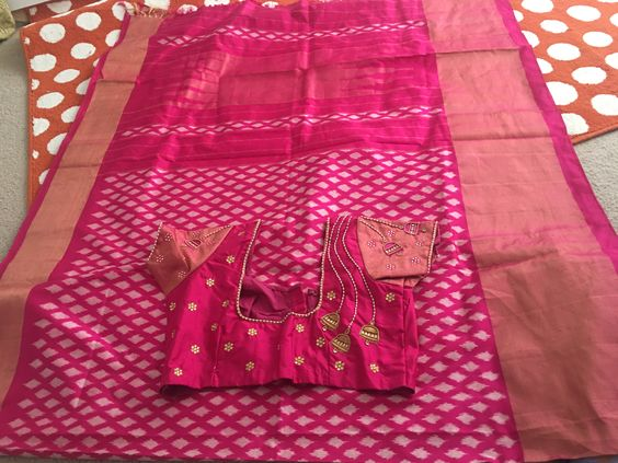 Ikkatha  Designer  Silk Pink Color Saree
