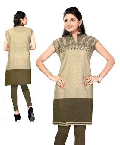 Indian Kurti_Henna Green_Printed_1