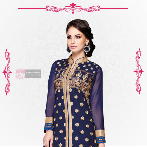 Blue Faux Georgette Kameez with Straight Pant