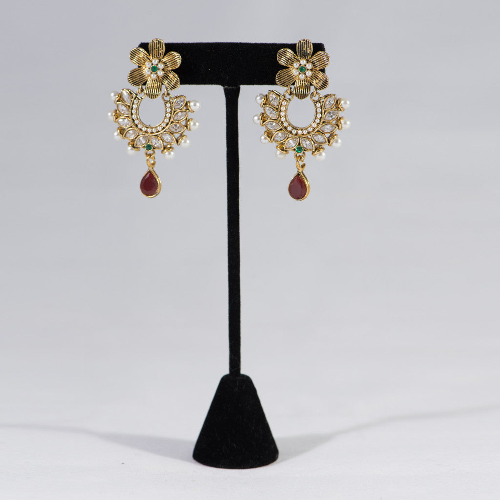 Ruby with Pearls Chandbail Earrings