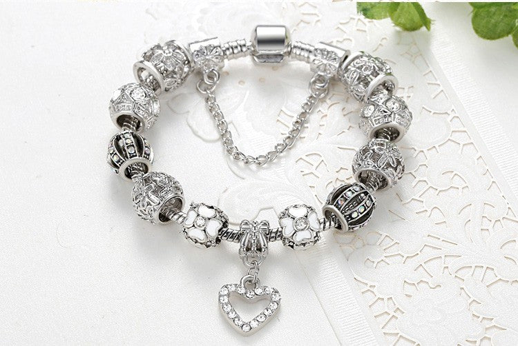 Silver Heart Charms Bracelet Bangle for Women DIY 925 Crystal Beads