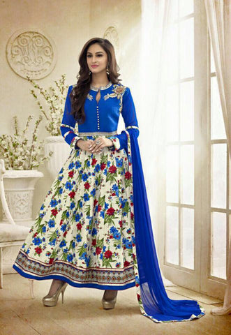 Blue Silk top with Santoon bottom Churidar kameez