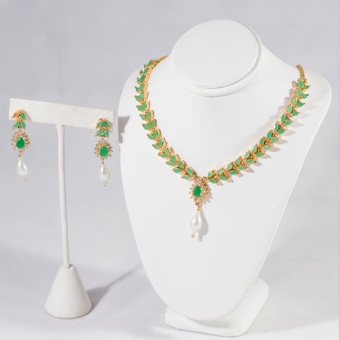 Green with Pearls and Cz Stone Designer Necklace and Earrings Set