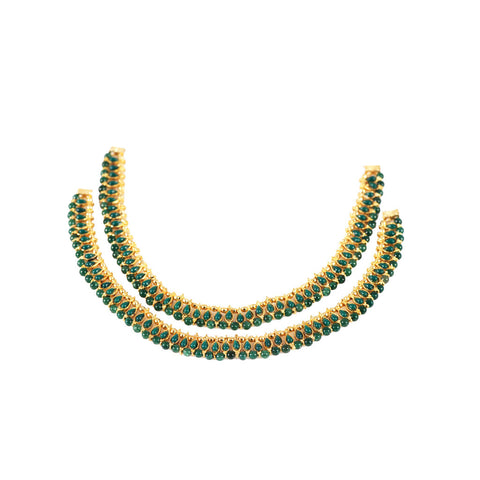 Green Anklets With Beads and Gold covering