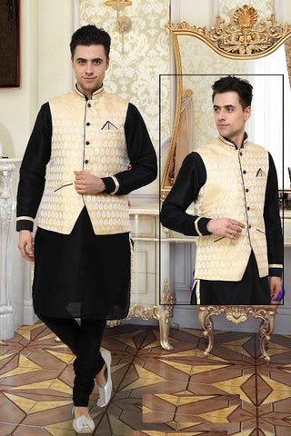 Indian Designer Black Linen Readymade With Cream Nehru Jacket