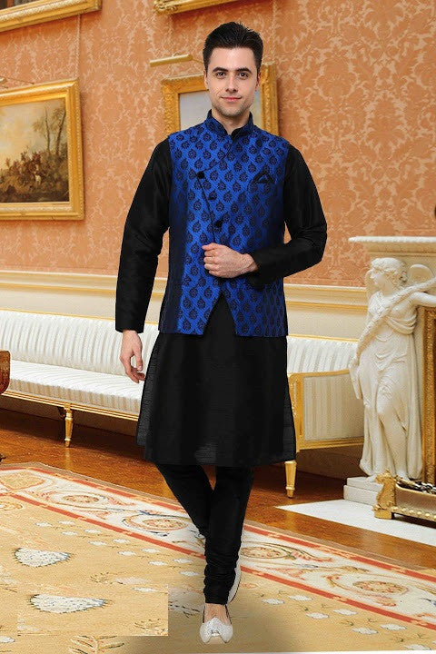 Indian Designer Black Linen Readymade With Blue Nehru Jacket