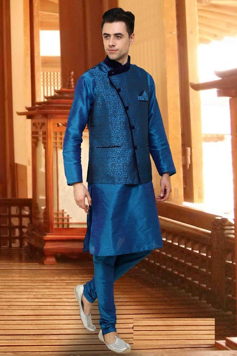 Indian Designer Blue Linen Readymade Nehru Jacket