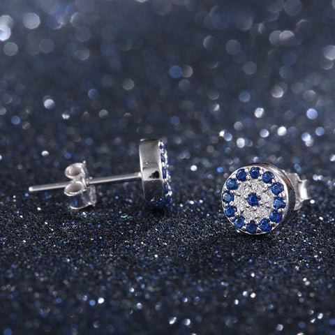 925 Sterling Silver CZ Diamond Round Clock Stud Earrings For Women Free + Shipping
