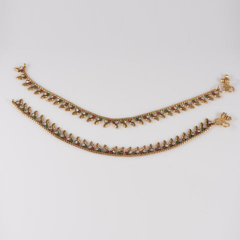 Mango Shape Anklets With Multi color Stones and Gold Covering