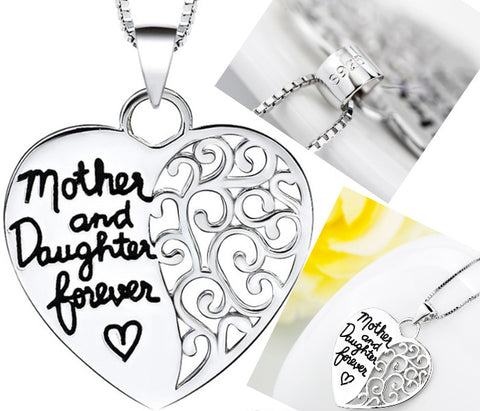 925 Sterling Silver Heart Pendant Necklace Mother and Daughter Love